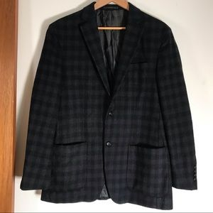 Avanto Uomo Black and Blue Plaid Wool Sports Coat